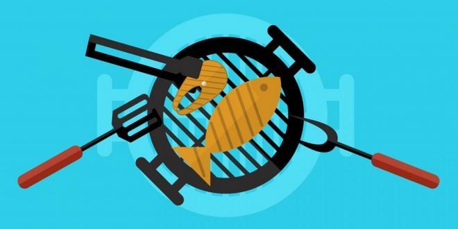 illustration of grilling fish